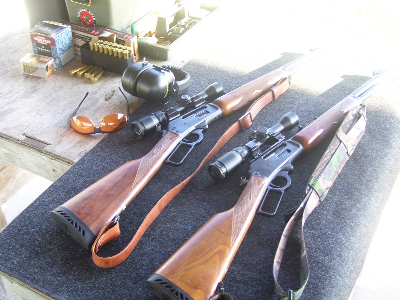 Two of the Author's Big Bore Lever Actions at the Range