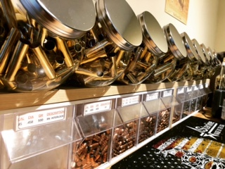 Author's Brass & Bullet Storage on the Reloading Bench